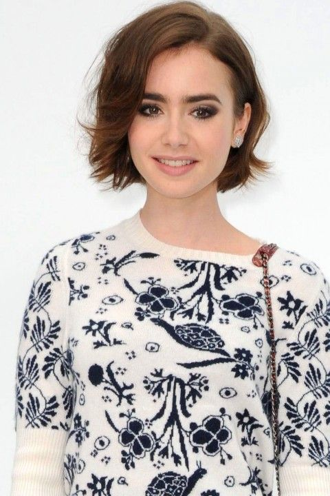 Lily Collins proves that short hair is anything but ageing, opting to keep her short locks messy and toussled, adding extra cool points with an of-the-moment side-parting.