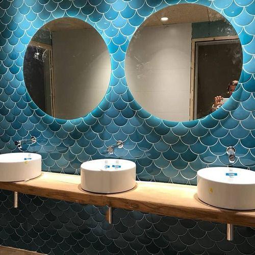Carreau Ecaille Bleu Canard 12 7x6 2 Squama Olive 0 38m Conceptions De Carrelage Salle De Bains Idee Salle De Bain Salle De Bain Extraordinaire