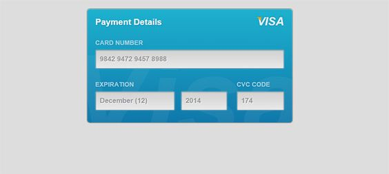 20 Amazing CSS3 \ HTML5 Form Examples - credit card form