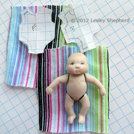 Sew a Sleeper For a Baby Doll: Choose Fabric for A Custom  Baby Doll Sleeper he fabric thickness and pattern for your custom doll sleeper should be chosen to suit the scale of your doll. For this dollhouse doll, which is less than 2 inches tall, I used inexpensive knit cotton underwear as a source of fabric. If you are searching for suitable patterns for smaller projects for dolls, carry a pattern viewfinder or a printable scale person with you when you search. Used baby clothing from a…