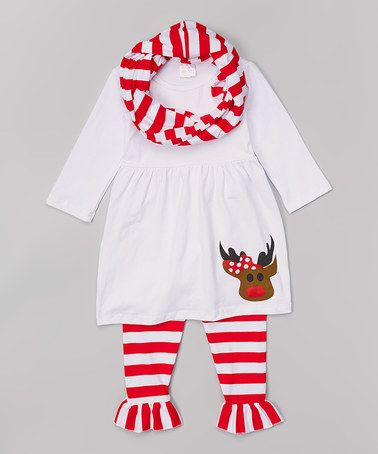 Look what I found on #zulily! White & Red Reindeer Babydoll Dress Set - Infant, Toddler & Girls by The Princess Pea #zulilyfinds
