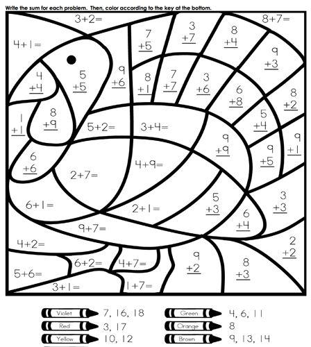 math worksheet : our favorite sites for thanksgiving coloring pages  thanksgiving  : Christmas Coloring Math Worksheets