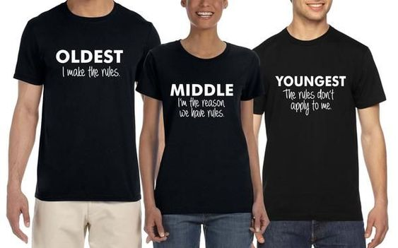 Youngest Family rules funny t shirt Sibling T shirt set of 3 Oldest .Middle