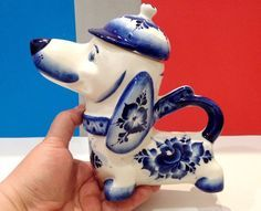 Dachshund teapot porcelain figurine dog Russian hand painted collection Russia                                                                                                                                                     More