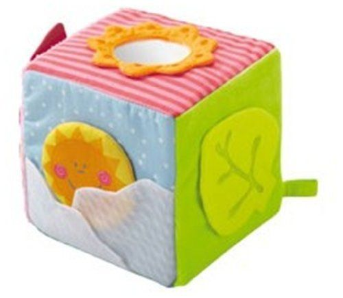 Haba Little Garden Discovery Cube by Haba. $9.97. This charming play cube awakens all of the senses and entices curiosity! Each cube keeps the little ones occupied thanks to their optical and acoustic elements and the different features to pull on, turn or touch. Includes blue, pink and orange flaps magnetic closures and peephole with kaleidoscope.