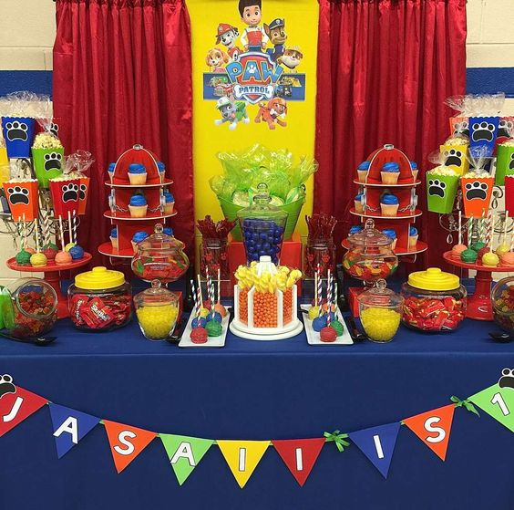 Colorful Paw Patrol birthday party! See more party planning ideas at CatchMyParty.com!: