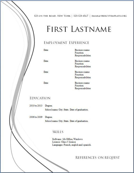 Resumes Examples Free -    wwwresumecareerinfo resumes - resume format for job in word