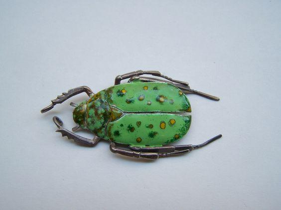 Handmade Beetles-Brooch, Silver & Enamel - one of a kind by Nicole Bolze ORIGINALS