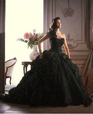 Nau Schwarz Brautkleid /Hochzeitskleid /Abendkleid/Ballkleid Gr:32 34 ...