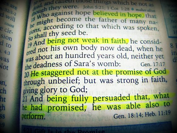 When you place your hope in God, anything is possible. But it must be in HIM, not in people, things or circumstances. HOPE in Him and do not become fearful or discouraged by what you see or people tell you. Take Him at his word. Photo taken from Romans 4:18-21