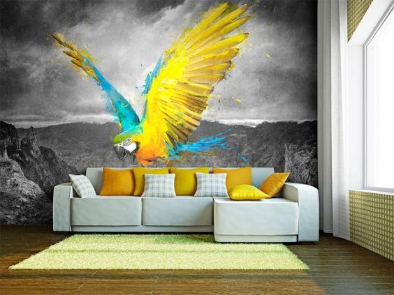 fototapety papugi do salonu