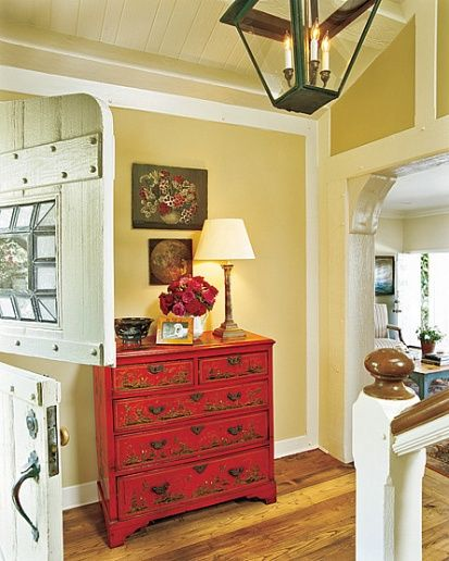 Red painted furniture.