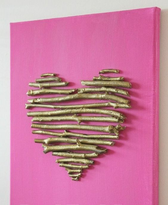 diy leinwand druck herz zweige rosa hintergrund deko. Black Bedroom Furniture Sets. Home Design Ideas