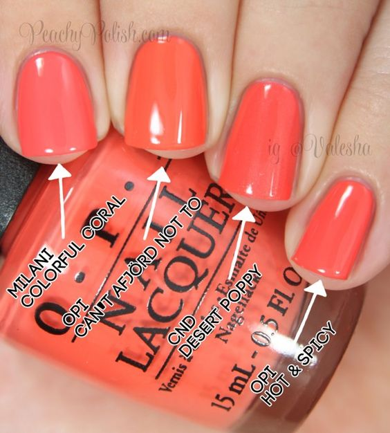 "OPI: Nordic Collection Comparisons Pointer to pinkie; 2 coats of each: Milani ""Colorful Coral"", OPI ""Can't Afjörd Not To"", CND ""Desert Poppy"" & OPI ""Hot & Spicy"""