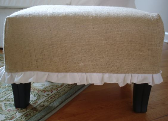 Make an easy burlap cover for any ottoman and then put for Where to put ottoman