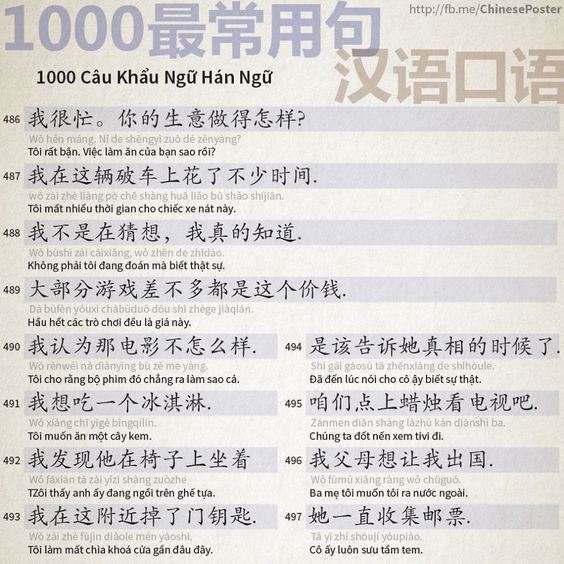 1000 Chinese Sentences In Daily Life Part 32