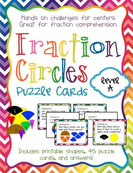 Fraction Circles Puzzle Cards Level A | Fractions, Puzzles and Circles