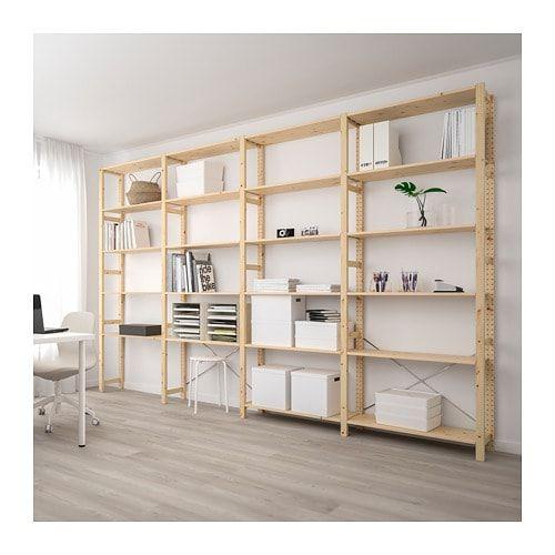 Ivar Pine 4 Sections Shelves Width 344 Cm Ikea Rayonnage Ikea Meuble Etagere
