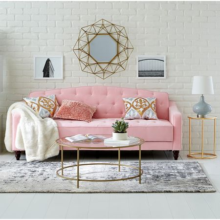 Novogratz Vintage Tufted Sofa Sleeper Ii Multiple Colors Walmart Com Pink Living Room Pink Couch Living Room Glam Living Room