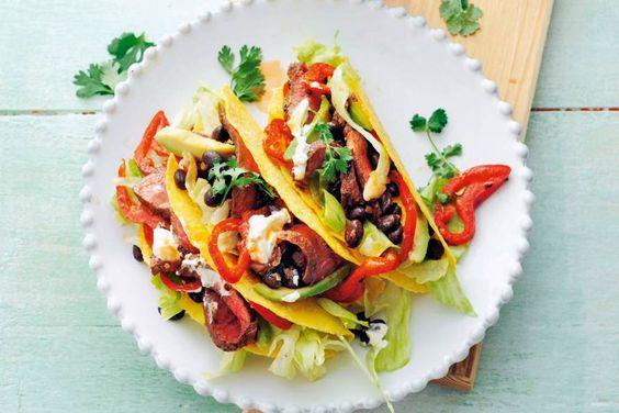 Fiesta aan tafel met deze glutenvrije maaltijd - Recept - Taco's met pittige biefreepjes en zwarte bonen - Allerhande
