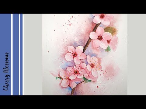 Cherry Blossoms How To Paint Cherry Blossoms With Watercolor Youtube Cherry Blossom Painting Cherry Blossom Watercolor Painting