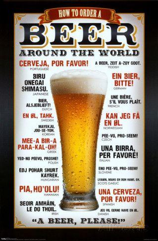 Cerveja, peça em todo o mundo, em inglês Pôsters na AllPosters.com.br