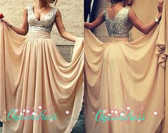Champagne Sequin Prom Dress, Sequin Sexy Evening Dress, Sexy Prom Gold Homecoming Dress, Gold Bridesmaid Dress, Champagne Long Chiffon Dress