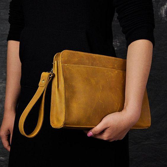 Vintage Large Leather Mens Wristlet Bag Wristlet Wallet Side Bag Clutc – iwalletsmen