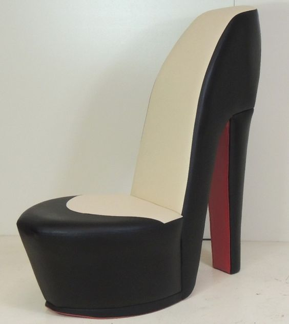 black shoe high heel stiletto chair with