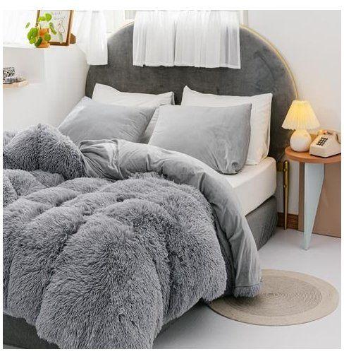 3 Pieces Fur Bedding Set Shaggy Fluffy Duvet Cover Velvet Ultra Soft Microfiber Solid Color Grey Fluffy Duvet Bed Comforter Sets Bed Styling Fluffy Duvet