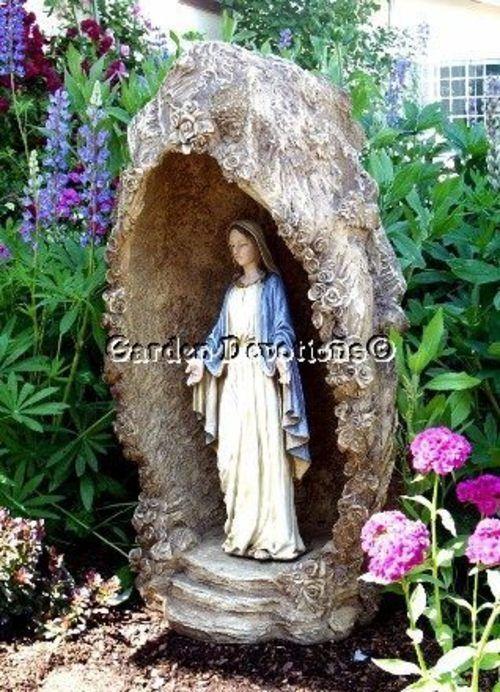Roses Lourdes Grotto Mary Garden Statue Shrine Niche