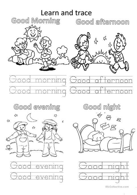 Greetings Learning English For Kids English Lessons For Kids Kindergarten Worksheets
