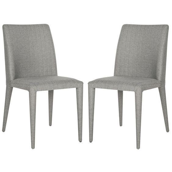 Safavieh Metropolitan Dining Garretson Linen Grey Side Chairs (Set of 2)