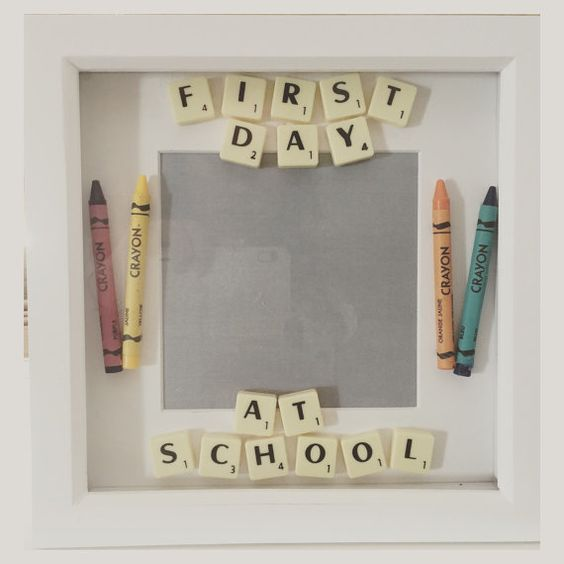 First day at school frame  scrabble  by Namesandframescraft