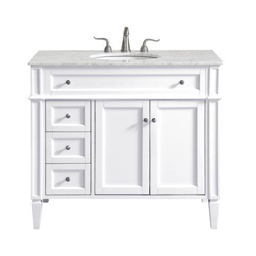 Elegant Lighting Vf12540wh Park Avenue 40 In Vanity Sink Set In