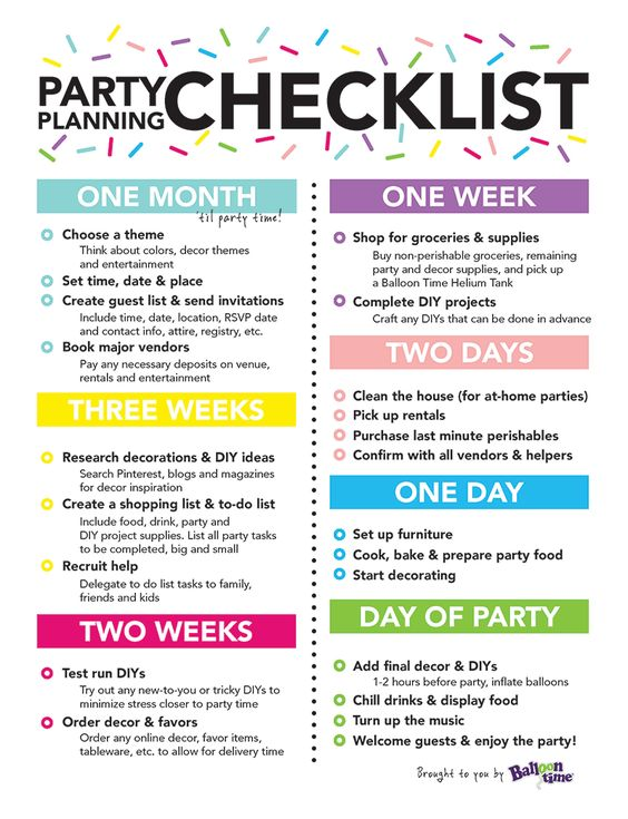 Party planning checklist balloon time retirement party for Event planning ideas parties