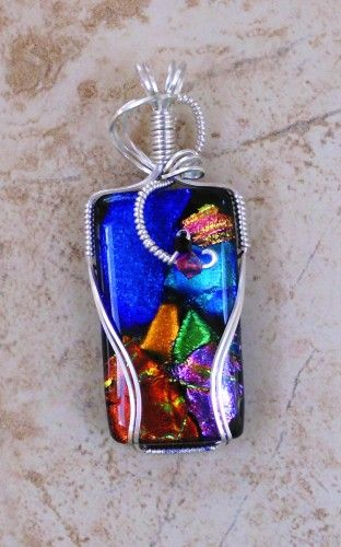 Blue Ocean Wire Wrapped Pendant by jewelrybyjorgy