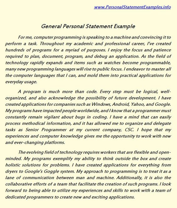 Personal statement for university admission