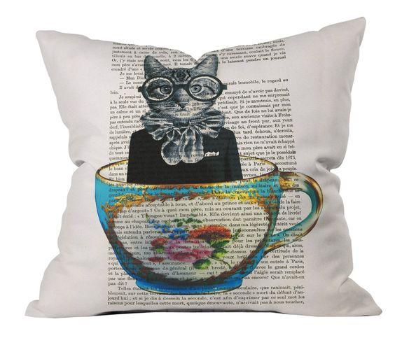 DENY Designs Coco De Paris Cat in A Cup Outdoor Throw Pillow, 20-Inch by 20-Inch: Amazon.ca: Patio, Lawn & Garden