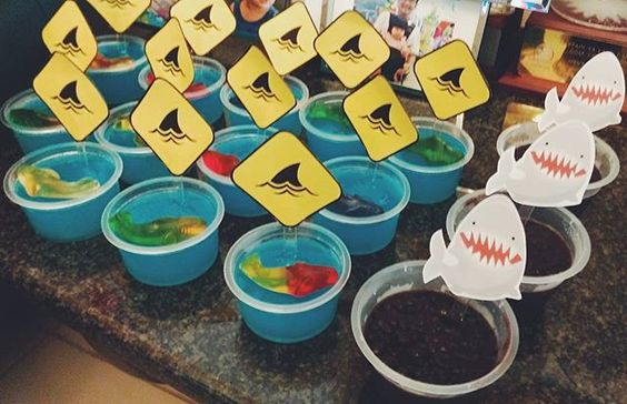 Today's shark themed dessert table for Oliver's 1st birthday party. We had blue jelly with gummy sharks and pulut hitam pudding.  #oliversmcisone