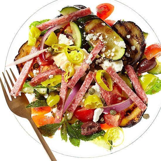 Greek Salad with Salami Vinaigrette