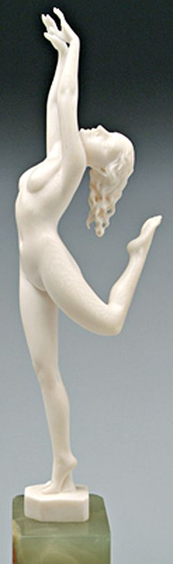 Ivory Sculpture; Walther (Ludwig), Art Deco, signed, Dancing Nude, 9 inch.