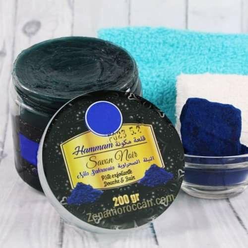 صابون مغربي بالنيلة الزرقاء من متجر زينة Coco Oil Bitter Almonds Prickly Pear Oil
