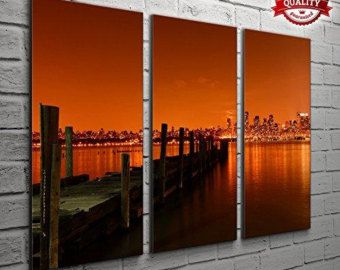 3 Panel New York Manhattan Orange Sky Cityscape Pictures For Your Living Room Bedroom Wall Art Print - Completely Framed