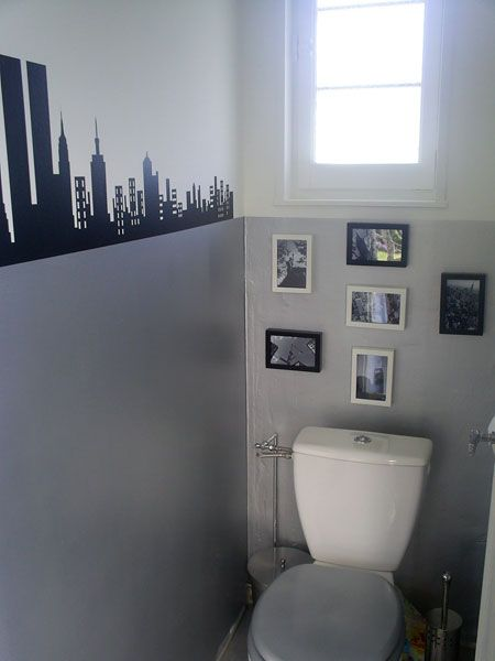Style new york wc manga pinterest inspiration - Deco toilette gris et blanc ...