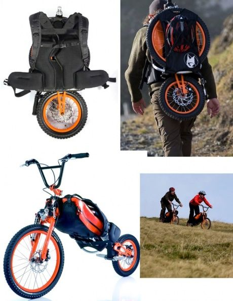 Bike back pack #bike @Marco van Bemmel Massarotto  @Elizabeth Lockhart Irving omg!!!!: Bike Marco, Backpack Bike, Portable Bike, Design Ideas, Bikes Big, Bike Designed, Bikes Scooters