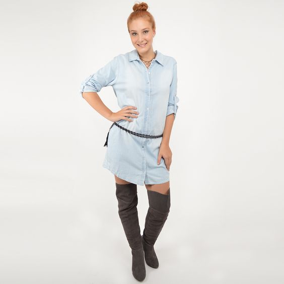 Chemise jeans + Cinto + Bota over the knee #moda #look #outfit #inverno #lnl #looknowlook