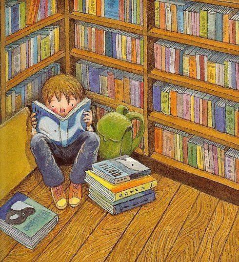 O Lobo Leitor: Escondido atrás de um livro na biblioteca da escola: