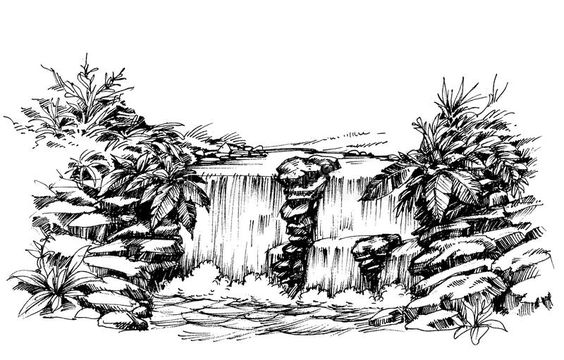 Waterfall drawing. Flowing river sketch , #affiliate, #drawing, #Waterfall, #Flowing, #sketch, #river #ad
