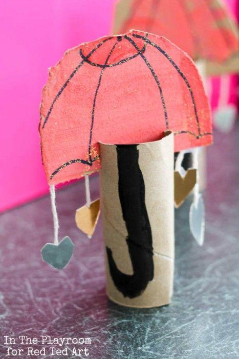 It's raining hearts! Cute cardboard tube umbrella kids craft
